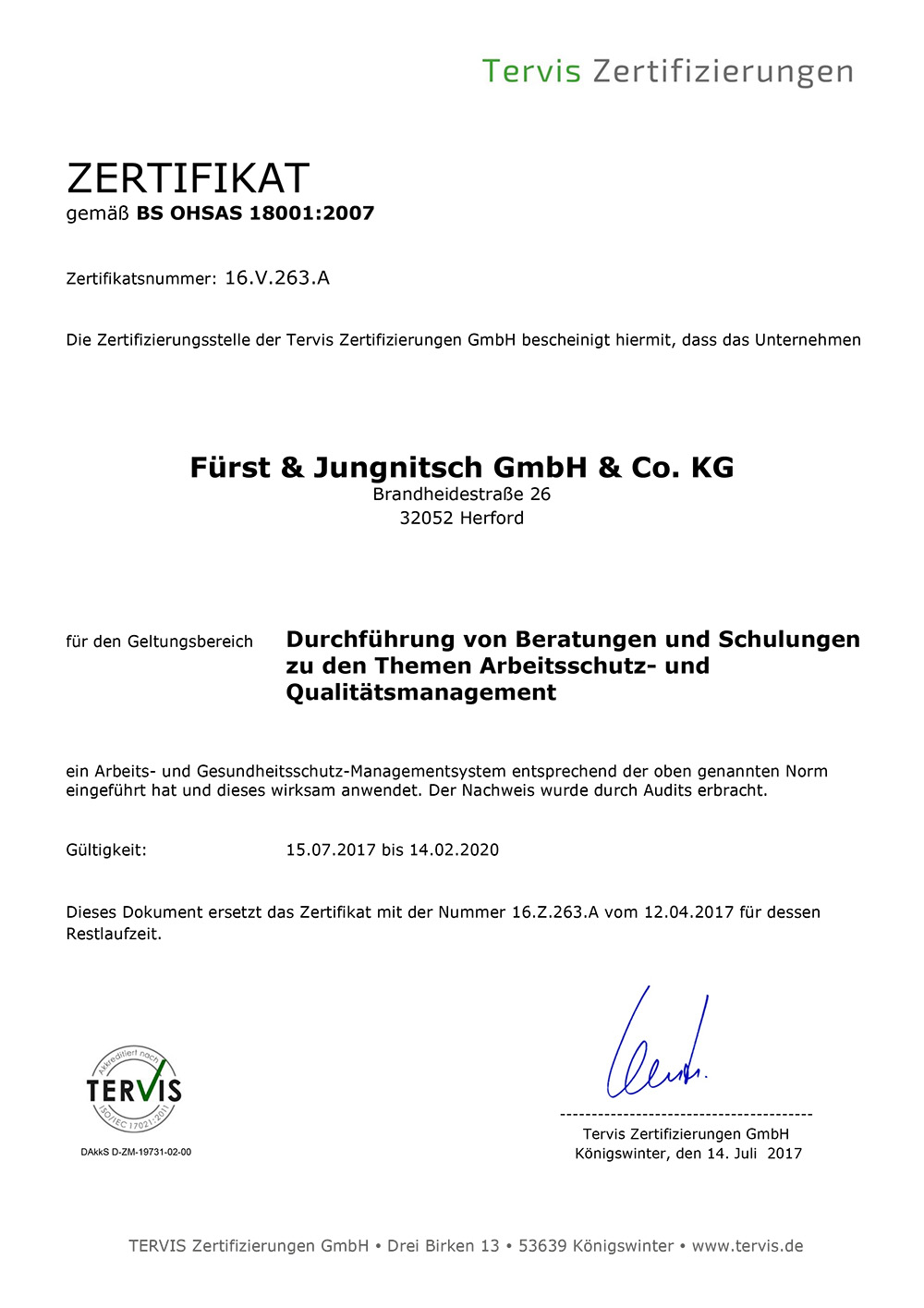Zertifikat BS OHSAS 18001